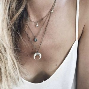 4/$25 Layered Bohemian Horn & Stars Necklace